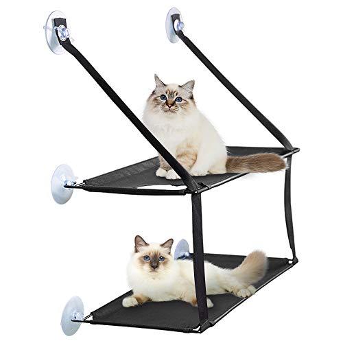 PUPPY KITTY Doppellagige Katzen Hängematten Fensterplatz Fenster zum Ausgucken, Katzenbett zum Sonnenbaden im Fenster für bis zu 15kg fetten Katzen. Fensterliege, Hängematte für Katzen