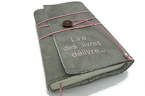Protège livre fait main à personnaliser, couverture livre format mini/poche/Broché/littéraire roman, couvre livre en tissu simili cuir, cadeaux, voyage, noël, anniversaire, cadeaux personnalisés