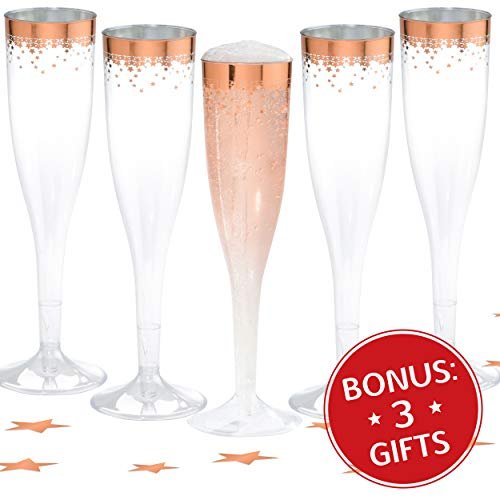Champagne Flutes Disposable Rose Gold - 50 Count Clear 5.5Oz Plastic Disposable Mimosa Rimmed Flute Glasses Steamless Shatterproof BPA Free Cocktail Cups for New Year Party Wedding Birthday & Hosting
