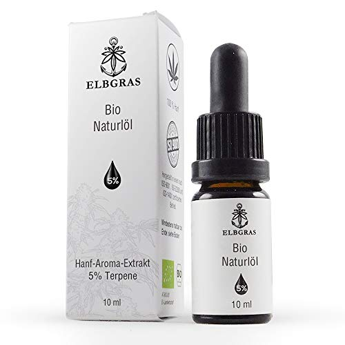 Elbgras | Bio Hanfsamenöl mit 5% Hanf-Aroma-Terpenen - 10 ml | Deutsches Bio-Produkt | Öl-Tropfen
