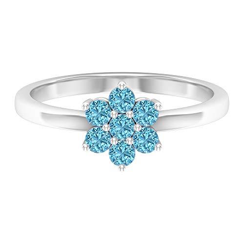 Anillo de 1/2 quilates de aguamarina flor, anillo de cúmulo de aguamarina, anillo de compromiso de oro (calidad AAA), 14K Oro blanco, Size:EU 70