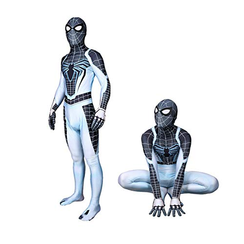 KIDsportxie PS4 Spiderman Bodysuit Jungen negativer Raum Superheld-Kostüm Halloween Fancy-Kleid Anzug Lycra Spandex-Thema Party Strample Prom Anime Catsuit,White-Kid (115~125cm)