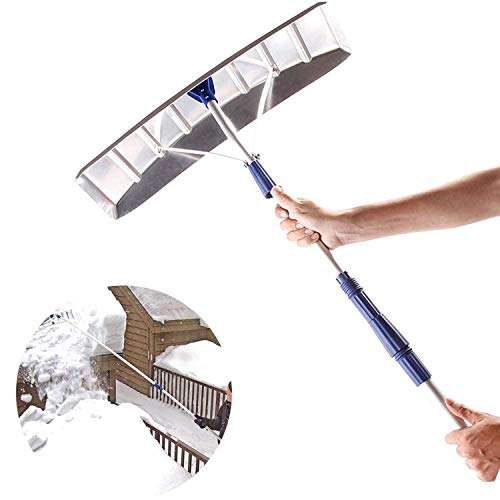Buy Discount QGPWHLS Telescoping Snow Shovel Roof Rake 21-Foot Extension, Aluminum Great for Snow, L...
