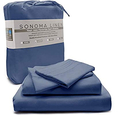 SONOMA LINEN Super Soft Bed Sheet Set Navy Blue 4 Piece Full 1800 Thread Count Double Brushed Microfiber Bedding Wrinkle Stain and Fade Resistant Breathable and Cooling Hotel Quality Deep Pocket