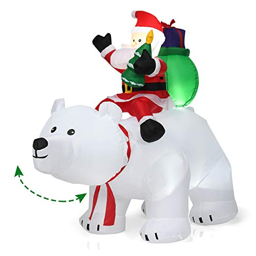 Tangkula 6.5 Ft Inflatable Christmas Santa Clause Riding The Polar Bear with Shaking Head, Outdoor Indoor Holiday Decorations, Blow up Lighted Yard Decor