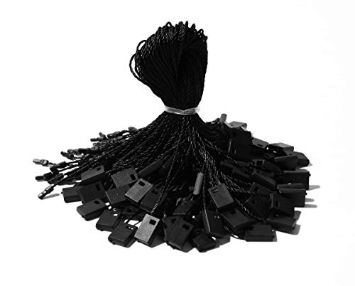 """Hang Tag String Black String for Tags 7"""" 1000 Pcs Nylon Snap Lock Pin Loop Fasteners Tie Easy and Fast to Attach Swing Tags"""