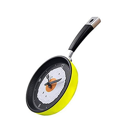 Koken Pan Omelette Klok, Keuken Cafe Wandklok, Abs Creatieve Wandklok, Pan vorm, Stille Vegen Beweging, Eenvoudige Schaal, Rood/Blauw/Geel/Groen Geel