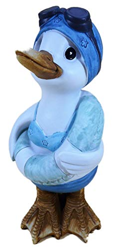 N / A Schwimm Ente Frau mit Taucherbrille und Rettungsring 22 x 11 cm Garten Tier Figur Deko 51168 A