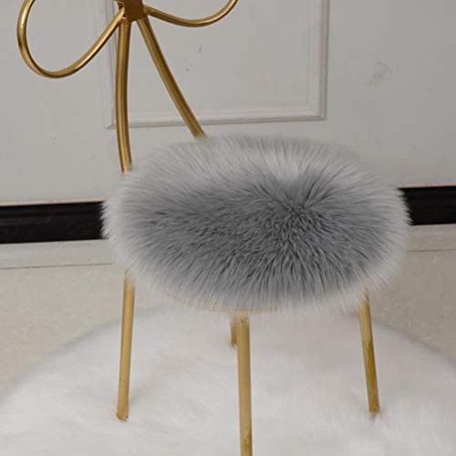 NIU MANG Faux Fur Sheepskin Silky Seat Cushion Solid Color Warm Round Cushion Stool Pad Dining Chair Cushion Chair Pad for Living Room Bedroom Makeup Chair Home Decor Carpet