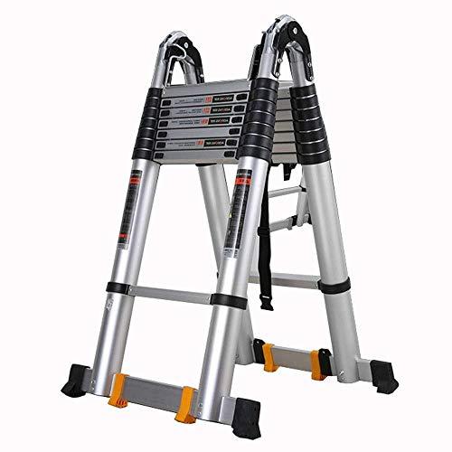 HUYP Escalera Plegable Plegable Tipo multifunción Una Escala Espesado aleación de Aluminio Antideslizante del Pedal polea móvil ángulo Ajustable (Size : 2+2m)