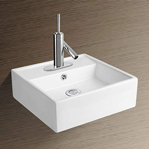 NEG Waschbecken Uno16H (extra klein/quadratisch) Hänge-Waschschale/Waschtisch (weiß) mit schmalem Rand und Nano-Beschichtung
