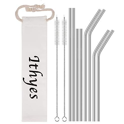 Ithyes Cannucce riutilizzabili in acciaio inox, lunghe cannucce in metallo, spazzola per la pulizia, lavabili, adatte per succhi e bevande, set da 10, 265 mm/215 mm (argento)