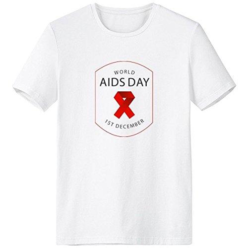 DIYthinker Homme 1er Décembre Ruban Rouge Journée mondiale du sida VIH sensibilisation solidarité Symbole Équipage Col blanc T-shirt sans étiquette Confort coton printemps et d'été T-shirts personnal