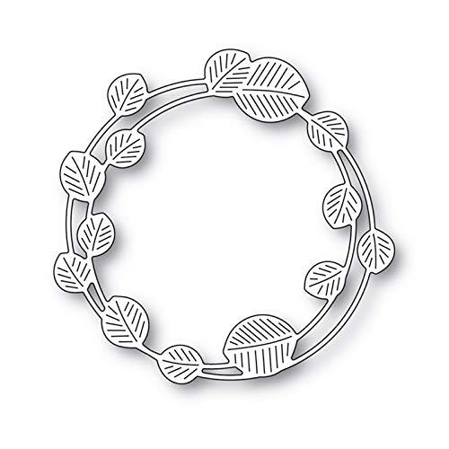Troquel de corte para vacaciones, forma de círculo de hojas para niños, bricolaje, tarjetas de felicitación, manualidades, molde de plantilla – plateado