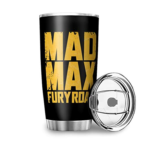 TokenToken Stainless Steel Coffee Cup Mad Max Fury Road Logo Symbol Graphic Double Wall Insulated Tumbler w/Lid Funny Car Mug for Fathers Day Mothers Day White 20oz