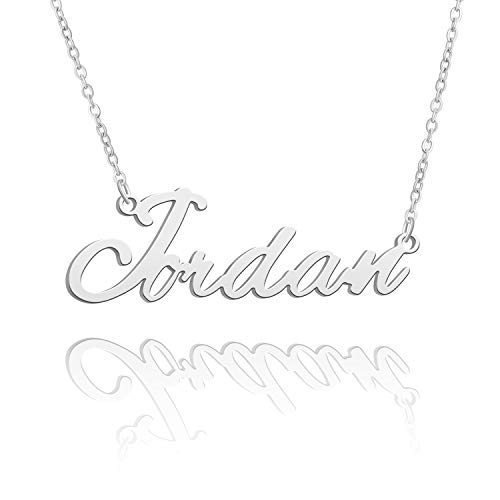 BUREI Women Personalized Name Necklace Silver Pendant Necklace Gifts for Jordan