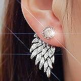 Yienate Pendientes de cristal vintage con diseño de alas de ángel de la guarda y plata delicada, con incrustaciones de circonita, para mujeres y niñas