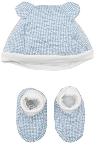 Petit Bateau Baby-Jungen Bonnet + Chaussons_5025700 Bekleidungsset, Mehrfarbig (Variante 1 00), 80 (Herstellergröße: 12M/74cm)