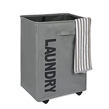 WOWLIVE Collapsible Rolling Laundry Basket Foldable Rectangular Tall Laundry Hamper Wheels Corner Standing Dirty Clothes Organizer Storage Bin (Gray)