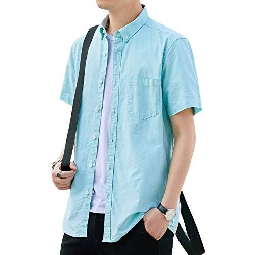 Camisas de Manga Corta para Hombres Color sólido Delgadas Cómodas Transpirables Camisas Simples Informales de Ajuste Regular X-Large