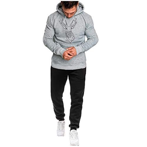 Blaue Kornblume Sportanzug Jogginghose Kapuzenpullover Hoodie Pullover Fitness Slim Men.5 Grau,L(weiß schwarzer Pullover Herren Sweatshirt Weiss Sweater Herren pullis für Damen)
