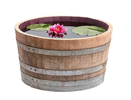 Temesso Holzfass, gebrauchtes Weinfass halbiert aus Eichen-Holz Fass als Pflanzkübel oder Miniteich (D70 H40 cm 100 Liter)