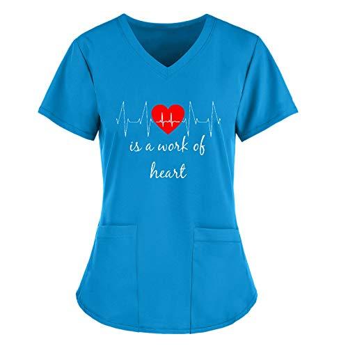 Dasongff Krankenhaus Kurzkasack Schlupfhemd Liebesmuster EKG V-Neck Bluse Kurzarm Schlupfkasack Kasack mit Motiv Pflege Bunt Damen Arzt Uniform Berufsbekleidung Krankenschwester Kleidung