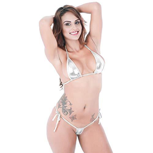 Zeer Sexy Lingerie Sexy Lingerie Dames In Het Oog Springende Glanzende Bikini Micro Haltertop Badpak Lingerie
