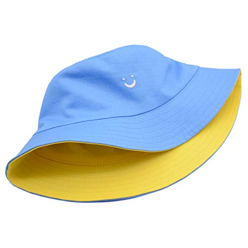 Smile Face Reversible Hat Summer Travel Bucket Beach Sun Hat Embroidery Visor Outdoor Cap (Blue/Yellow)