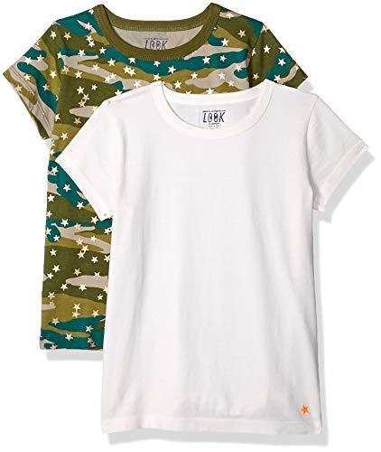 LOOK by Crewcuts - Camiseta de manga corta para niña, liso/estampado (2 unidades), Camo/Ivory, 10