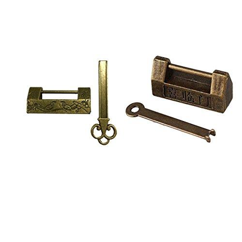 SM SunniMix Candado Antiguo de Estilo Chino Vintage con Una Llave Y Una Decoración de Caja Cosmética con Cerradura de Aleación de Zinc