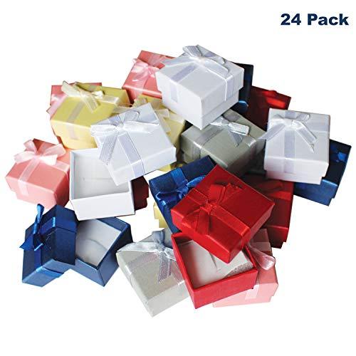 Kurtzy Schmuck Ring Geschenkboxen Set (24 Stuck) - 3,8 x 2,8cm Präsentations-Schachteln mit Samteinlage - Ringboxen mit Schleife und Band Design - Schmuckkästen mit Steckeinlage für Ringe, Ohrstecker