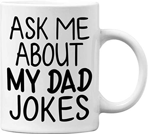 Ask Me About My DAD Jokes Funny White 11 Oz Office Coffee Mug Great Novelty Gift for Office product image