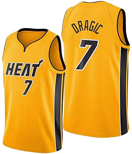 ZMIN Baloncesto de los Hombres Jersey Heat 7# Goran Dragic Basketball Chaleco sin Mangas Camiseta Secado rápido y Transpirable,Amarillo,L