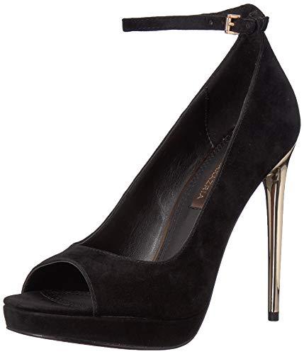 BCBGMAXAZRIA Women's Becky Peep Toe Pump Shoe, black suede, 8.5 M US
