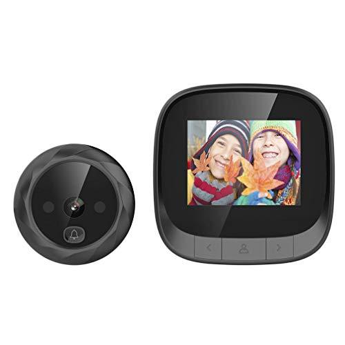 Video Cámara con Timbre de Ojo de Gato con batería Memoria incorporada Negro de Larga duración con batería de 2.4 Pulgadas
