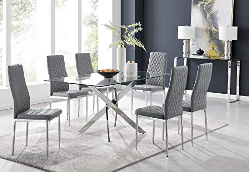 Leonardo 6 Clear Glass And Chrome Metal Modern Stylish Dining Table And 6 Stylish Milan Dining Chairs Set (Dining Table + 6 Elephant Grey Milan Chairs)