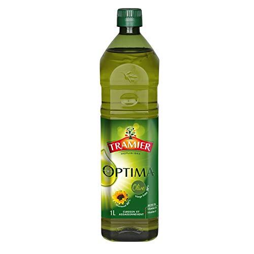 Tramier Mélange d'huiles Optima (1 x 1 L), mélange d'huile d'olive vierge extra et d'huile de tournesol, bouteille d'huile riche en vitamines D et E