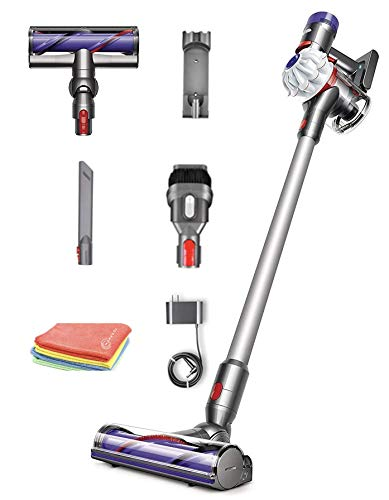 Flagship Dyson V7 Allergy HEPA Cordless Stick Vacuum Cleaner: Lightweight, Powerful, Bagless Ergonomic, Telescopic Handle, Rechargeable Battery, Height Adjustable, White + Marxsol One Microfiber Cloth