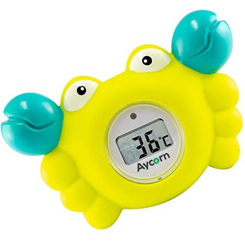 Aycorn Thermomètre Digital pour Bébé, Pour le bain et la chambre, Analyses rapides et précises des températures de l'eau - Alarme LED pour la sécurité de bébé - Jouet flottant pour le bain