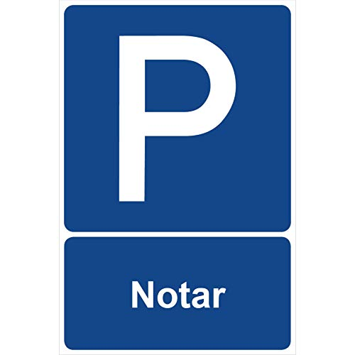 Parkplatzschild Notar Parken Schild Blau 30 x 20 x 0,3 cm Kunststoff Parkplatzmakierung Parken Parkplatzschilder Parkplatz Hinweisschild, Verbotsschild, Parkplatz Freihalten