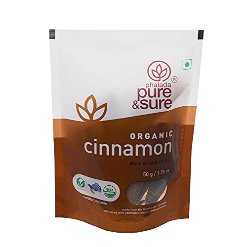 Pure & Sure Organic Cinnamon Bark Whole Spices   Khada Masala for Cooking   Sabut Garam Masala, 50g