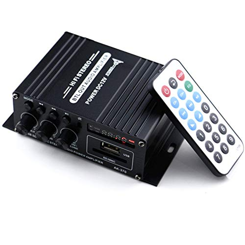 Mochatopia Bluetooth Verstärker Mini, Clearly and Reality Sound, Klass AB 2.0 Channel Audio Hi-Fi Stereo Endstufe mit Bluetooth V5.0 Musik FM Radio SD/USB Empfänger für PC Handy Haus Zimmer TV