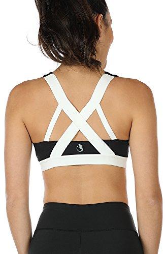 icyzone Damen Sport-BH mit Gepolstert, Bustier Sports Bra Top Fuer Yoga Fitness-Training (XL, Black)