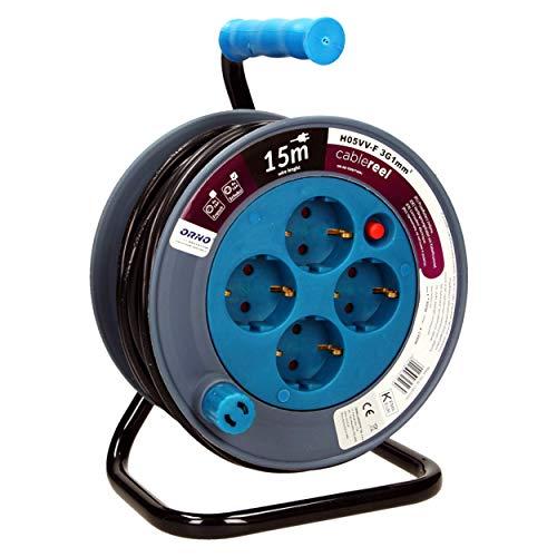Orno AE-1339 Mini Kabeltrommel 15m mit 4 Steckdosen, Metallständer und Thermoschutz || 2300W / 10A, 230V, 50Hz || 18 x 24.5 x 14 cm (Blau)