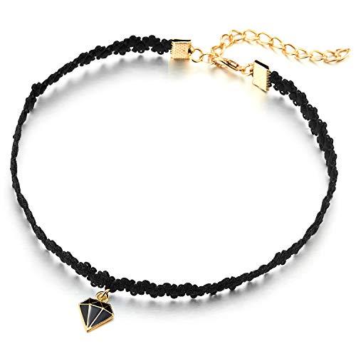 COOLSTEELANDBEYOND Collar de Gargantilla Choker Negro Encaje Colgante con Colgantes Esmalte Negro Forma de Diamante Oro Charm, Mujer Collar