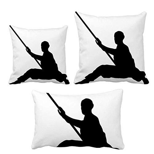 DIYthinker Shaolin Stick Chino Monje Soldado Cultura Juego de almohadas Inserto Funda de cojín para el hogar Sofá Decoración Regalo