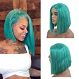 Short Silky Straight Bob Lace Wigs for Black Women 150% Density Brazilian Human Hair Middle Part Frontal Wig with Baby Hair Glueless Bleached Knots 8' Turquoise Blue