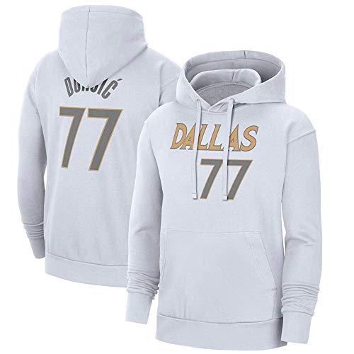 Pullover Hoodies Jersey Unisex Mavericks Blanco Impreso Hombres NBA Ropa de Manga Larga Sudaderas, XXL