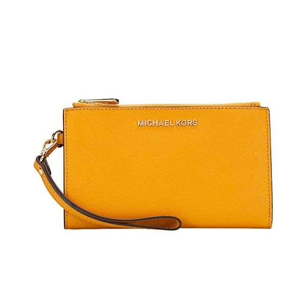 Michael Kors Large Jet Set Travel Phone Case Double Zip Leather Wristlet Wallet in...